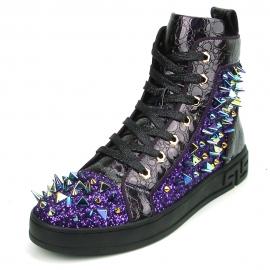 FI-2369 Purple Spikes High Top Sneakers